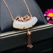 Véritable 925 argent blanc HeTian Jade incrusté autogène bambou chaîne Design chanceux pendentif collier pour les femmes Fine bijoux certificat