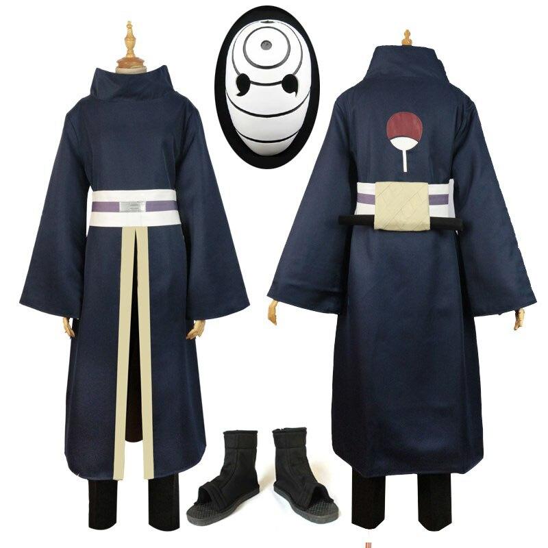 Alta qualidade anime traje conjunto completo naruto akatsuki ninja tobi obito madara uchiha obito cosplay peruca com capacete sapatos