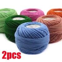 2pcs lace yarn 100 cotton yarn for crocheting fine combed yarn using 2 5mm crochet tshirt yarn knitting