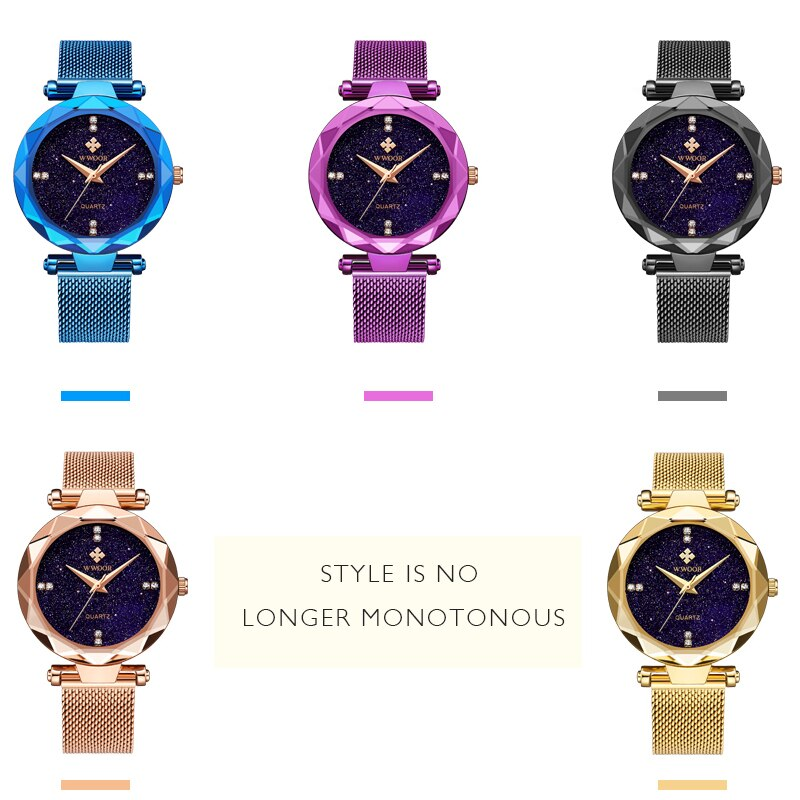 2021 WWOOR Women Watch Starry Sky Black Stainless Steel Fashion Diamond Ladies Quartz Watch Waterproof Ladies Gift Montre Femme enlarge