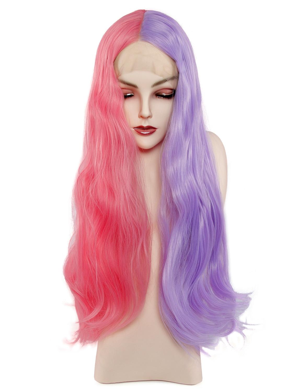 Rosa lila perücken hitze beständig synthetische spitze perücken cosplay perruque 24 lange wellenförmige perücke vordere spitze
