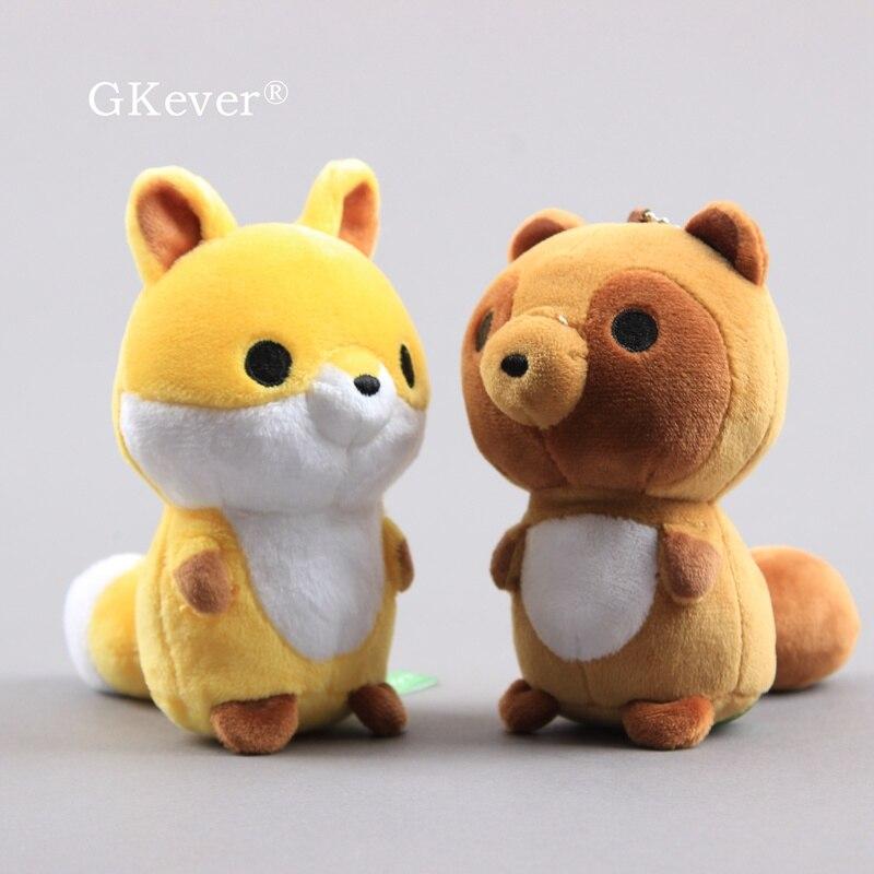 Littel raposa gato urso brinquedos de pelúcia boneca peluche chaveiro 10cm chegada nova animais de pelúcia brinquedos feminino crianças presente aniversário