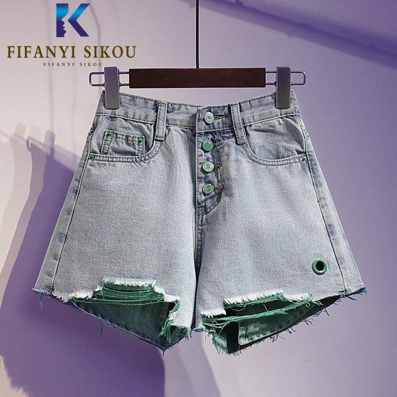 Moda cintura alta denim shorts feminino botão bolso rasgado jeans shorts 2020 verão solto plus size perna larga calças curtas jeans