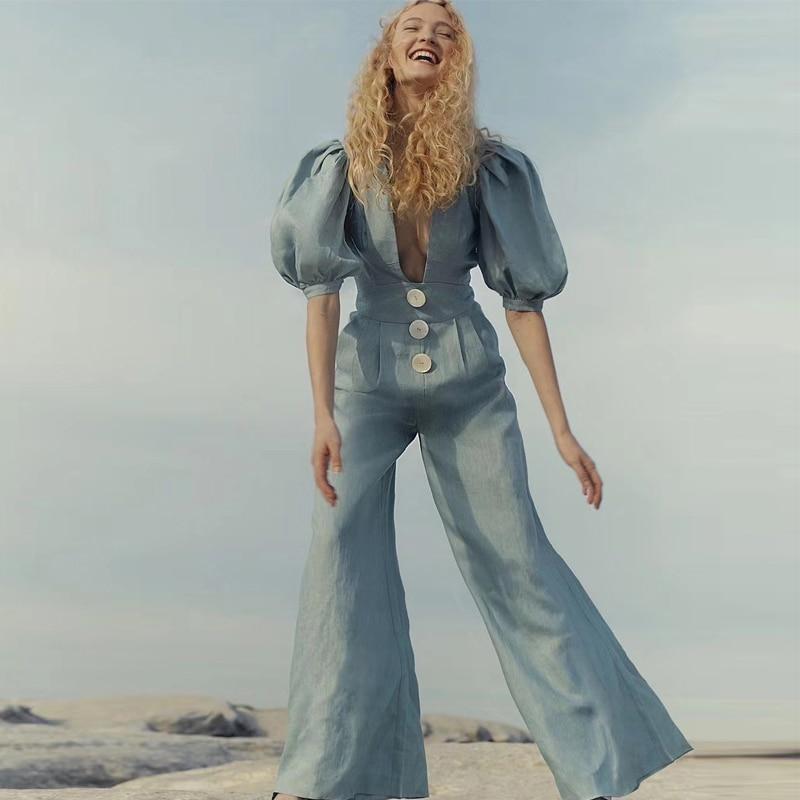 Gedivoen Summer Fashion Designer Deep V Neck Jumpsuit Women Solid Casual Backless Bow Jumpsuits Cotton Linen Women's Rompers