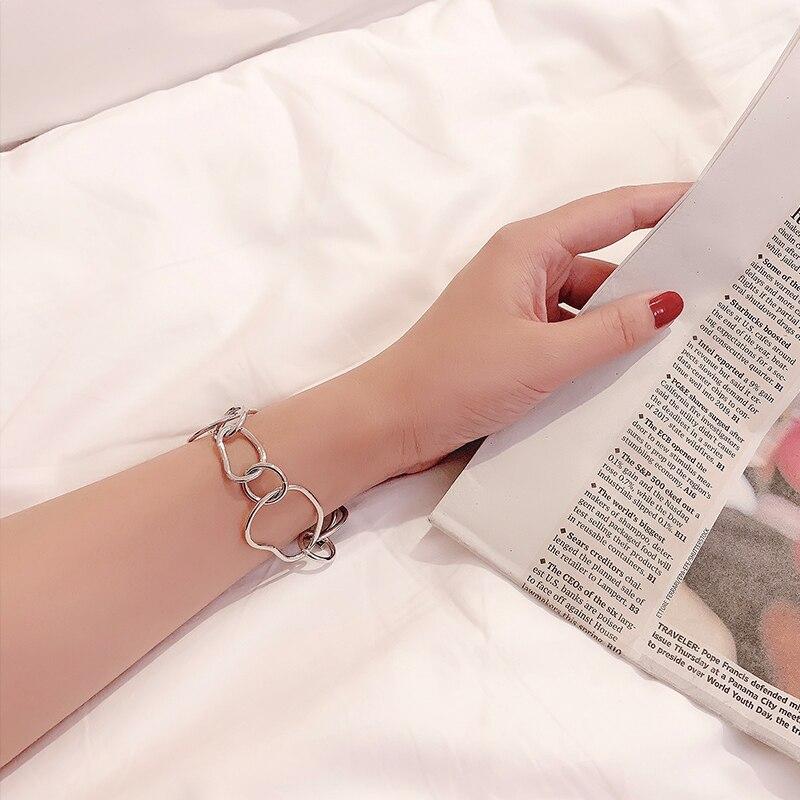 INS Normcore Style Retro Geometric Bracelet Special-Interest Design Simple All-Match Metal Texture B