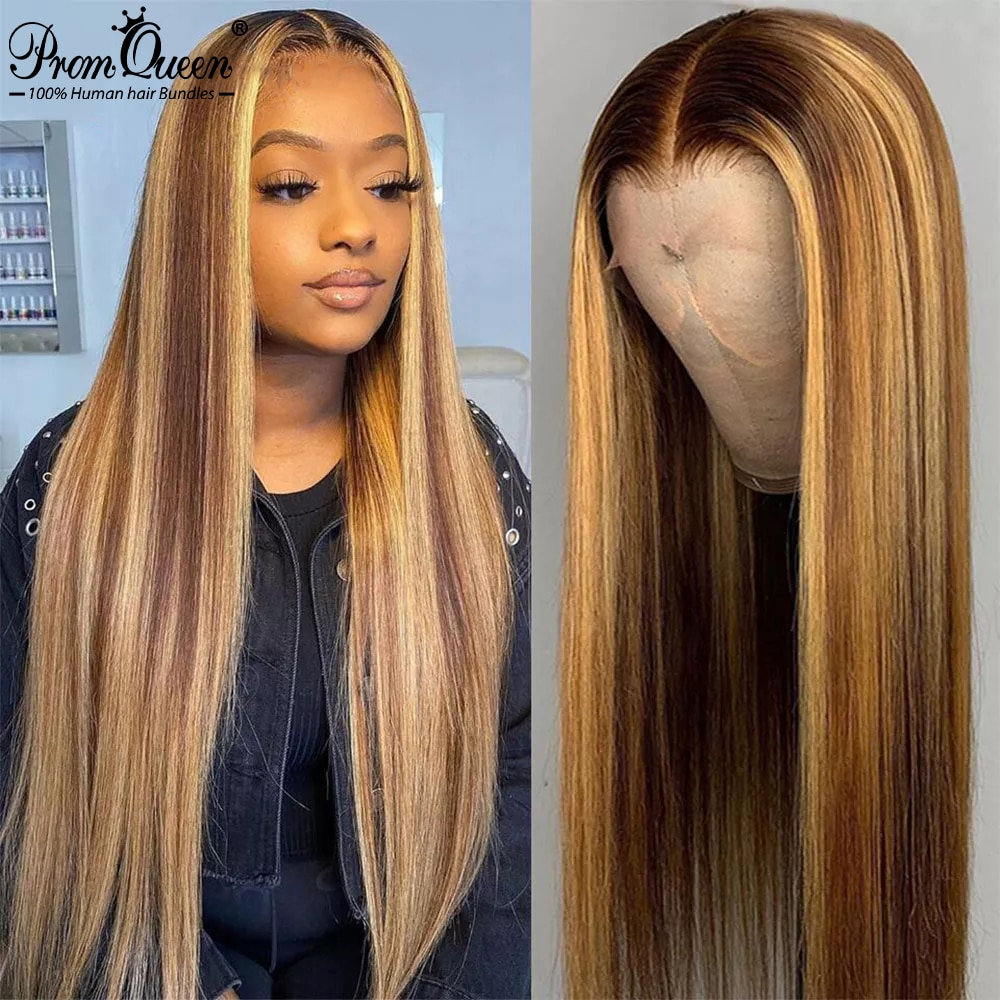 Highlight Wig Brown Colored Human Hair Wigs 13X4 13X6 360 Ombre Straight Lace Front Wig Highlight Lace Front Human Hair Wigs