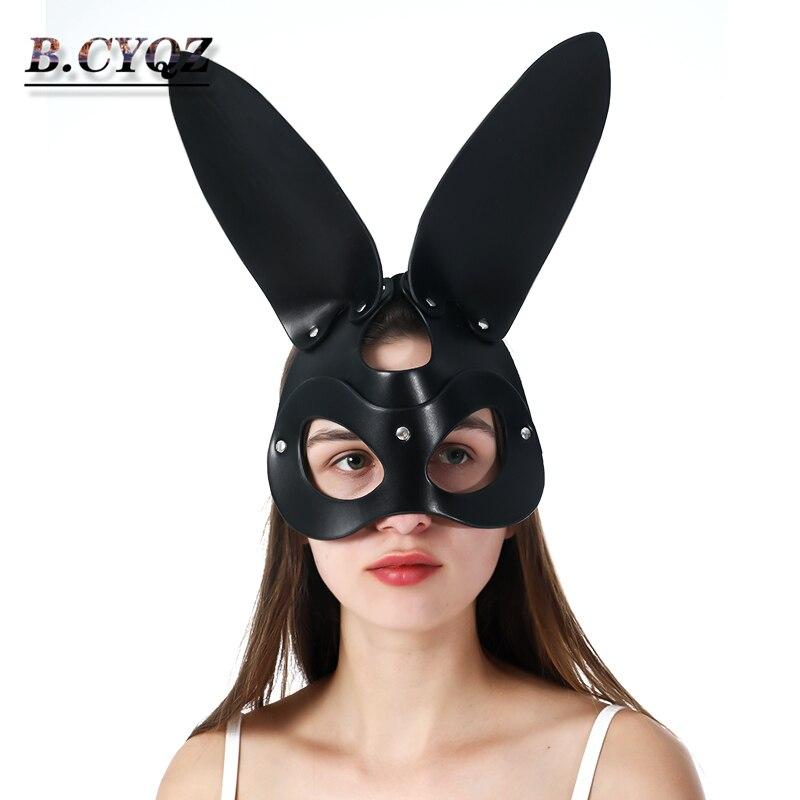 B. cyqz sexy cosplay coelho menina máscara de couro masquerade goth erótico halloween discoteca adulto sexo ferramentas casais festa bdsm máscara