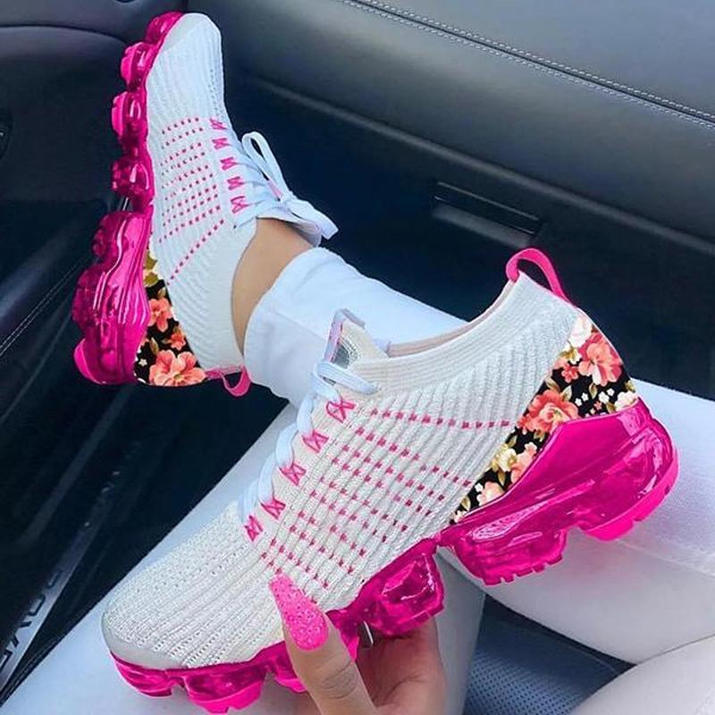 2020 Women Sneakers Summer Outdoor Sports Shoes Multicolor Leisure Comfortable Lace Up Plus Size Zap
