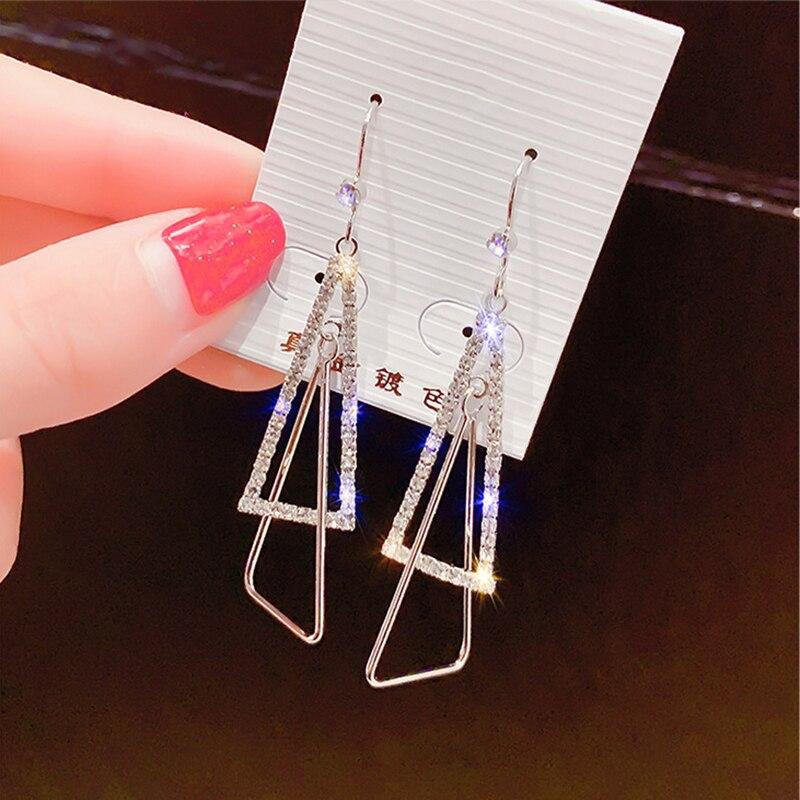 Shiny Side New Fashion Brand Jewelry Crystal Triangle Drop Earrings for Women Gift Multi-layer Geometric Earring