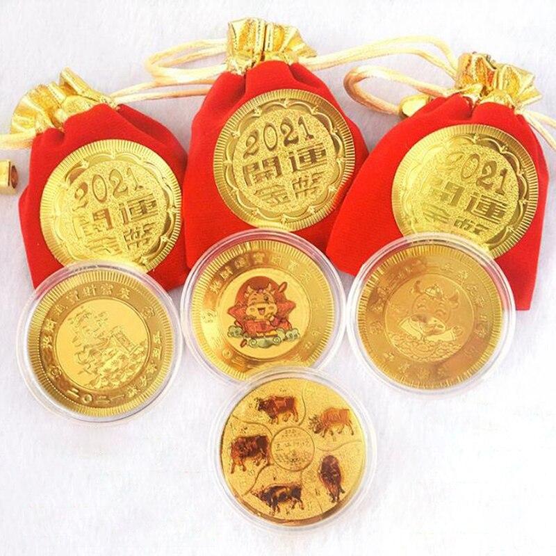 2021 ano do boi moeda comemorativa lucky china lembrança colecionável moeda