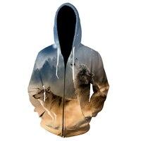 Мужской свитшот с длинным рукавом и 3D-принтом волка, XS- 5XL, 2019