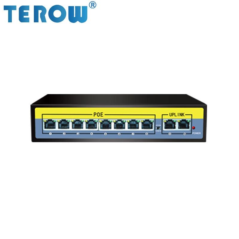 TEROW 52 в 10-портовый POE коммутатор 250 м Трансмиссия 8*10/100 м POE порт + 2*100 м UPLINK порт 2gbps-полный дуплекс IEEE802.3 AT/ AF