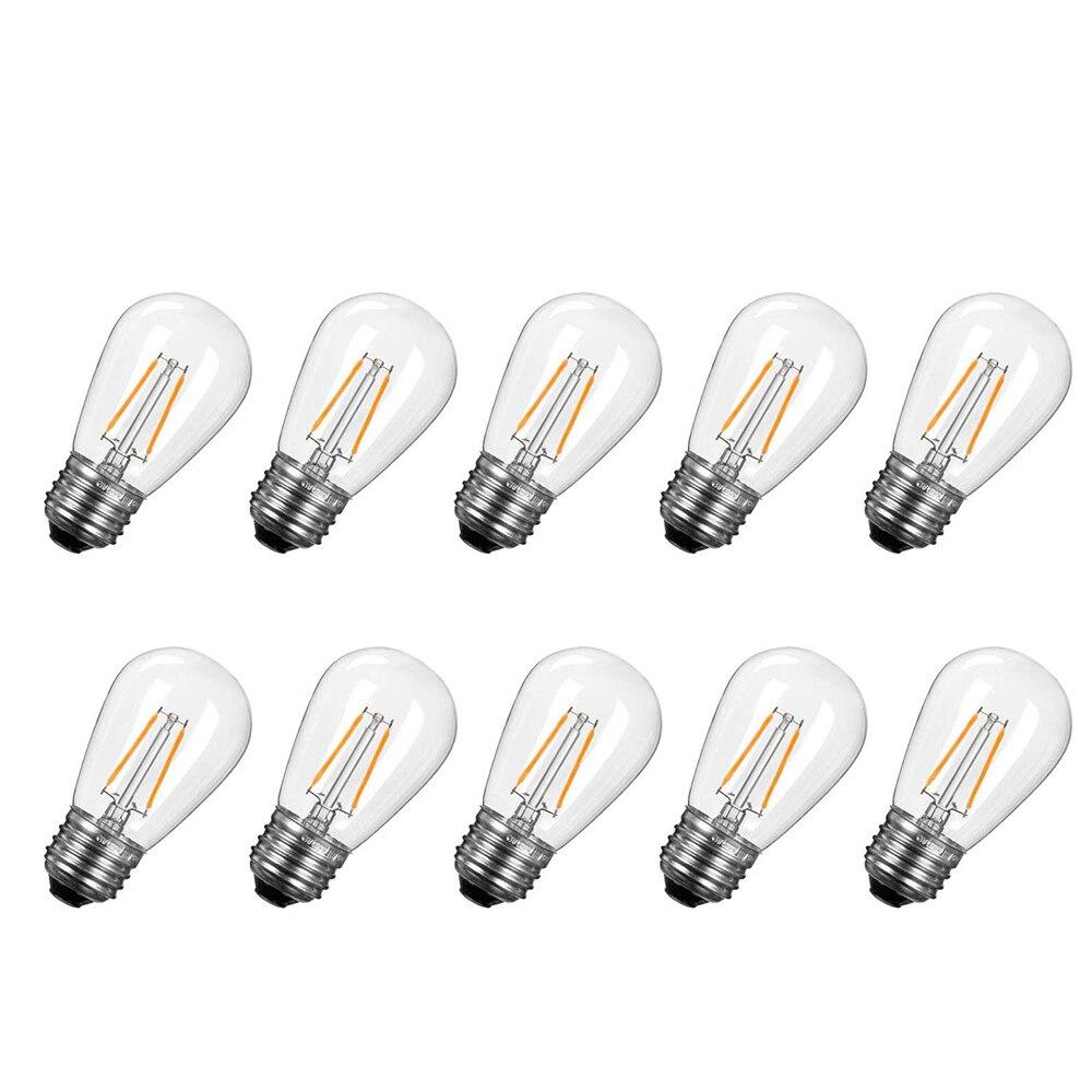 Светодиодные лампочки Эдисона S14, водонепроницаемая винтажная лампа накаливания E27 для улицы, коммерческого освещения, сменные шнурки, 10 шт....