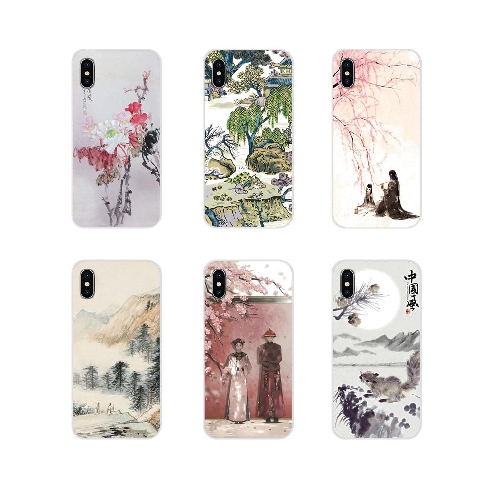 Estilo chino de pintura de tinta para Apple iPhone X XR XS 11Pro MAX 4S 5S 5C SE 6 6S 7 7 Plus ipod touch 5 6 TPU transparente caso cubre
