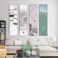 chinese tranditional landscape canvas painting poster and print retro home decor wall art pictures for living room bedroom aisle