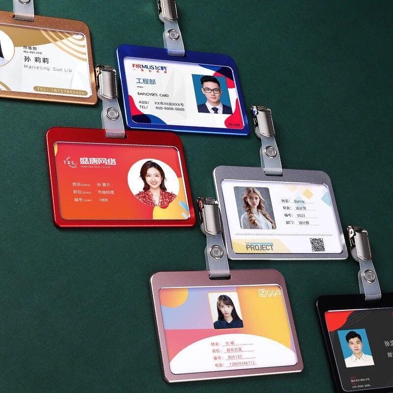 deli business name card box big capacity credit card holder memo pad Horizontal Metal Aluminum Business ID Card Credit Card Badge Holder With Clip Name Card Holder Case