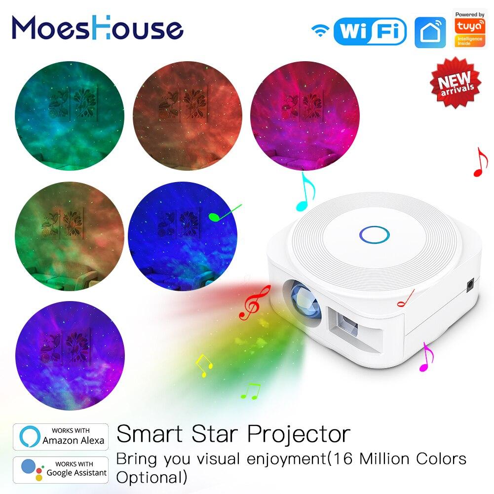 WiFi Tuya Smart Star Projector Galaxy Laser Starry Sky Projector Waving Night Light Colorful APP Wireless Control Alexa Google