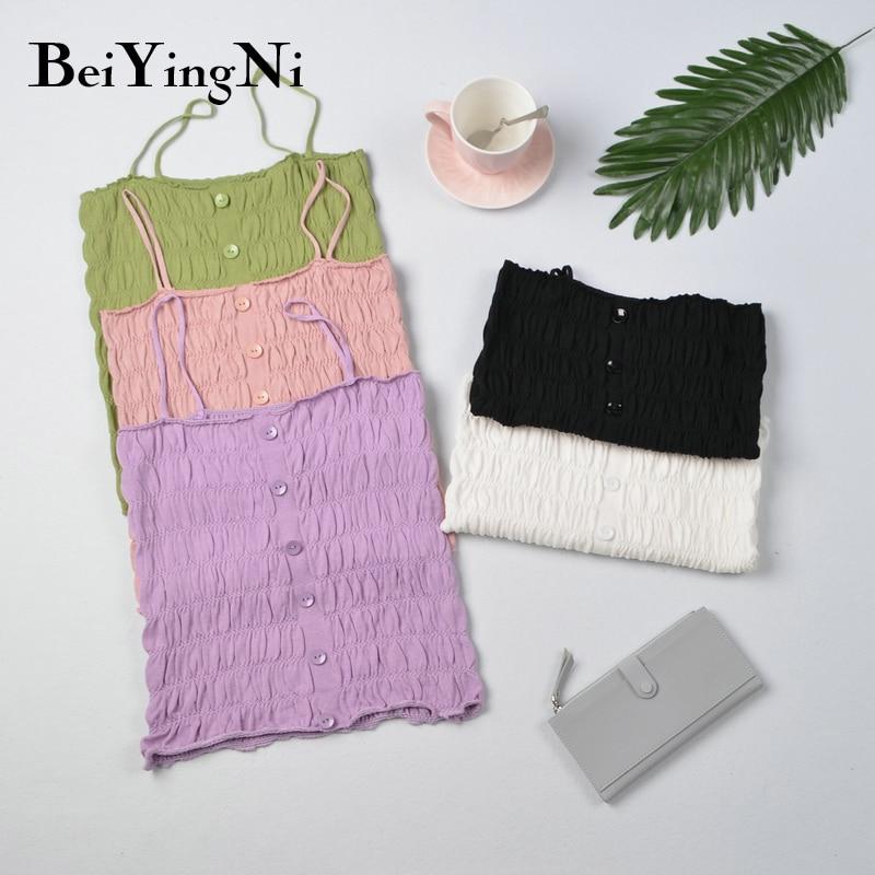 Beiyingni único-breasted cropped topos feminino lazer magro plissado cor sólida tanques topos senhoras cinta topo blusas mujer camis