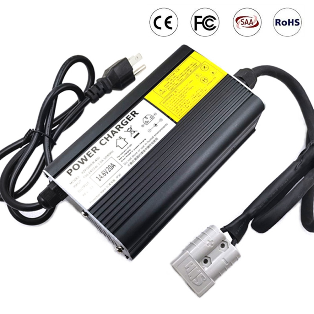 4S 14.6V 20A Lifepo4 Charger For 12V 40AH 60AH 80AH 100AH Lifepo4 Battery Pack Electric Bike Scooter with Fan Aluminum Case
