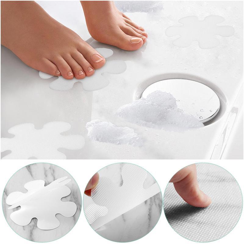 OUNONA 20 piezas pegatinas antideslizantes para bañera en forma de flor PEVA calcomanías seguridad baño ducha 10CM para suministros de Hotel en casa A35