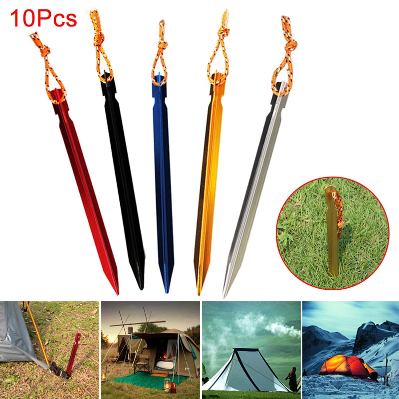 10 Pcs Tent Peg Nail Aluminium Alloy Stake with Rope Camping Equipment Outdoor Traveling Supplies Tent Building Beach Tent Pegs