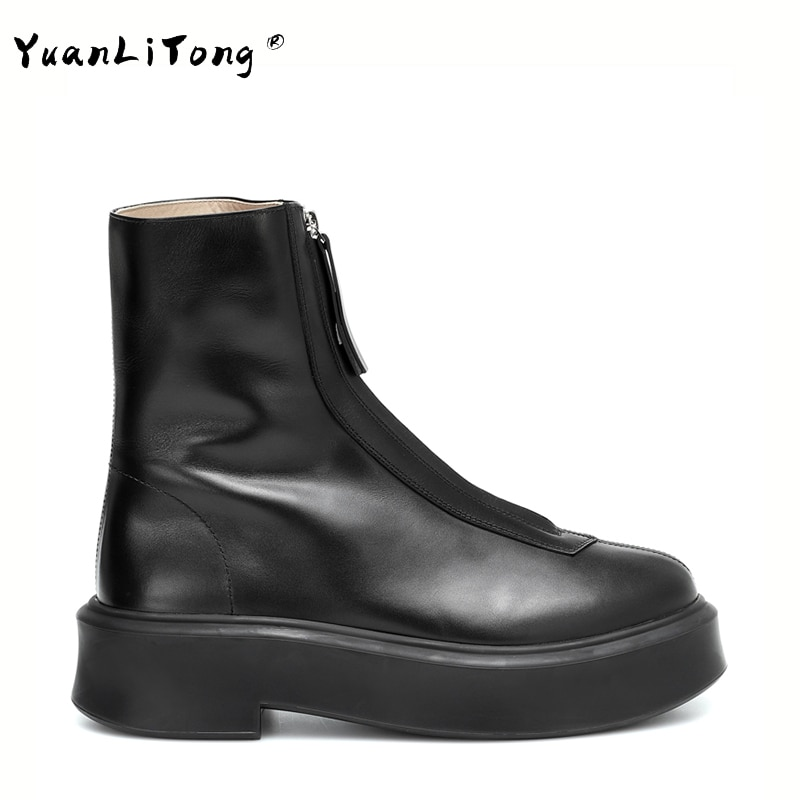عالية الجودة جلد طبيعي Ins الساخن المرأة حذاء من الجلد الجبهة زيبر منصة جديدة منصة أحذية عالية