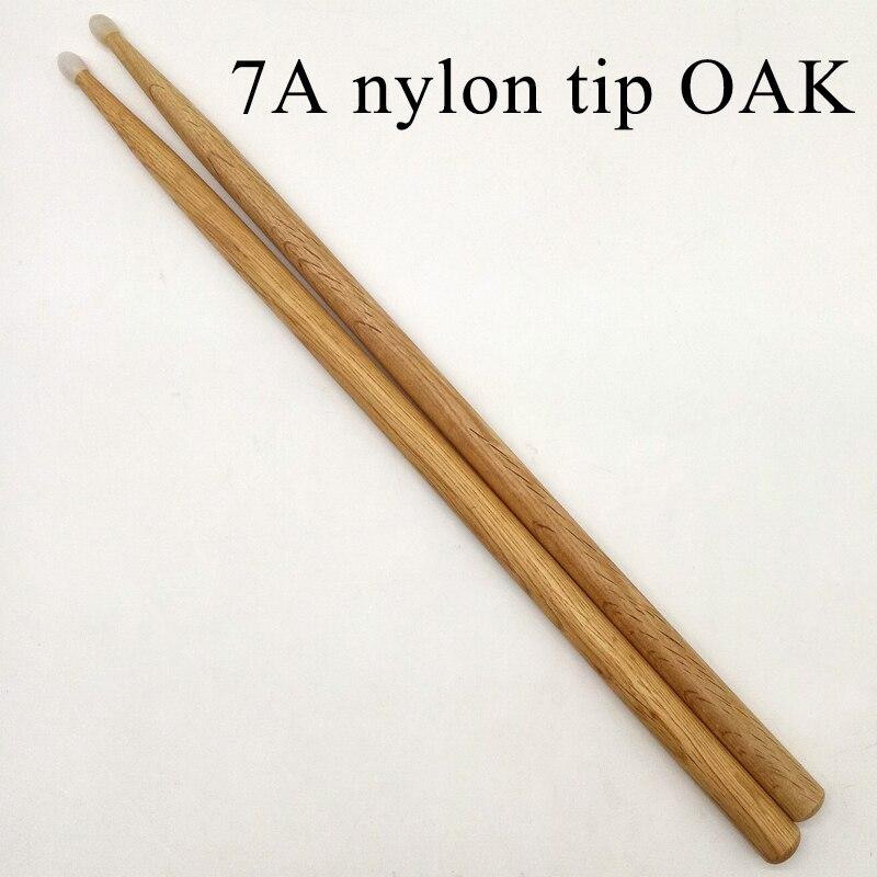Varilla de tambor de roble de 7A con punta de nailon de buena calidad
