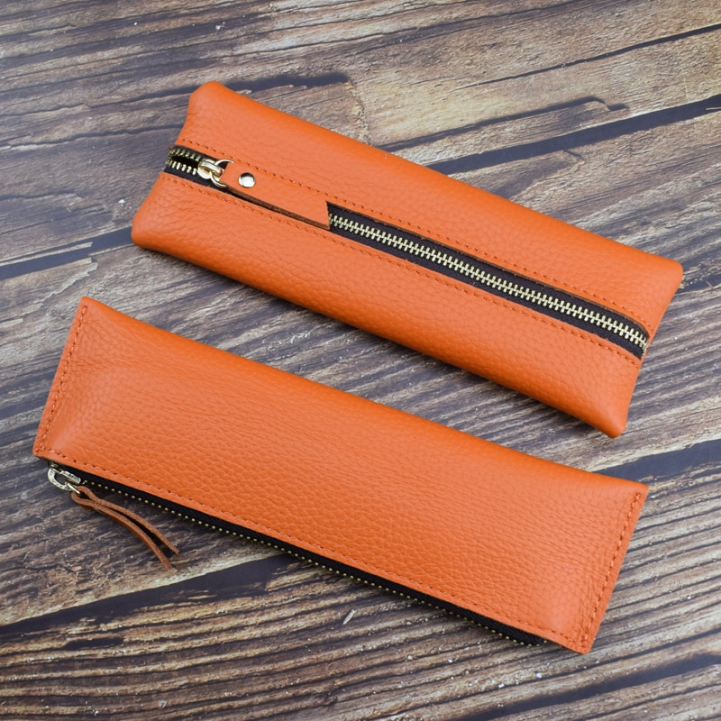 Portable Soft Genuine Leather Pencil Bag Handmade Vintage Cowhide Zipper Pen Case Office Writing Stationery Gift Pencilcase