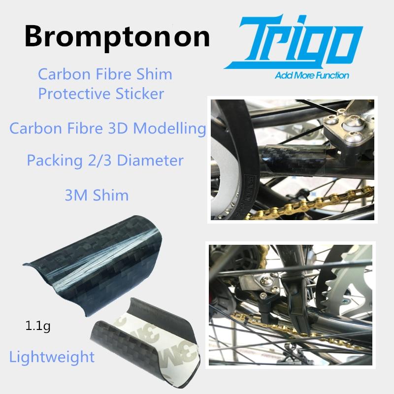 Trigo Brompton bicicleta plegable Back Fork fibra de carbono cuña pegatina protectora bicicleta ligera 3M