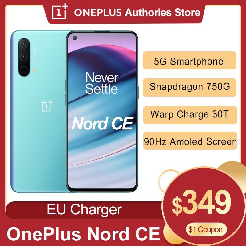 Перейти на Алиэкспресс и купить 2021 Глобальный OnePlus Nord CE 5G Смартфон Snapdragon 750G 8 Гб 128 90 Гц активно-матричные осид, Экран Warp заряжайте 30T Plus 4500 мА/ч, мобильный телефон