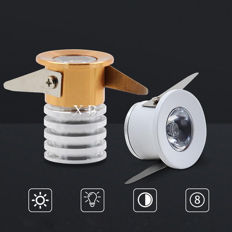 Mini ressessed led downlight 1w 3w 220v dc12v conduziu a luz do ponto branco/preto/ouro/prata corpo branco/branco quente/frio conduziu para baixo a luz