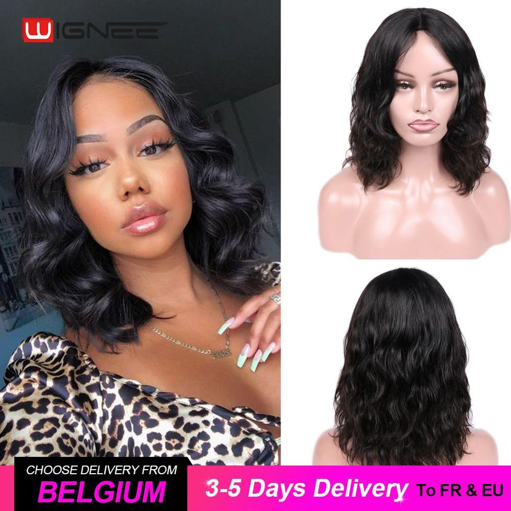AliExpress - Wignee Natural Wave Lace Part Short Human Hair Wigs For Women Black/99J/ Brown Hair 2020 New Cheap Soft Remy Wigs Free Shipping