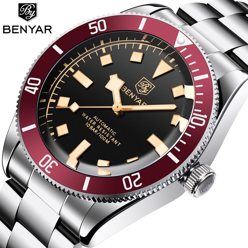 BENYAR Black Mens Watches 2021 Brand Luxury Mechanical Watch Men Automatic Wristwatch 100M Waterproo