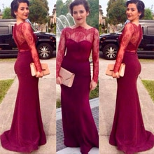 Burgundy Lace Mermaid Mother of the Bride Dresses Evening Dresses Sheer Lace Neck Long Sleeves Butto
