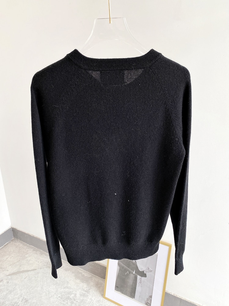 Button Sweater Women 100% Cashmere Spring and Autumn New Fashion Pullover Sweater Round Neck Long Sleeve All-match enlarge