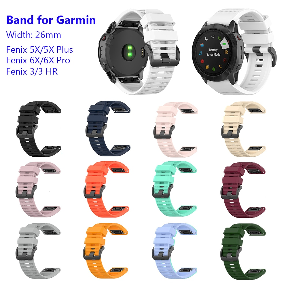 Pulseiras de relógio silicone pulseira esportiva para garmin fenix 5x/5x plus/fenix 6x/fenix 6x pro/fenix 3/fenix 3 hr/descida mk1/d2 charlie