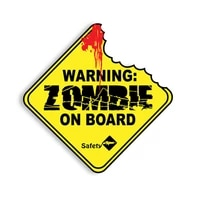 warning car sticker zombie on board vinyl sunscreen car window car styling accessories decorative waterproof pvc 13cm13cm