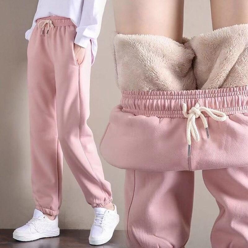 Зимние женские шаровары 2022, спортивные брюки для спортзала, однотонные плотные теплые женские повседневные брюки, женские спортивные флисо...