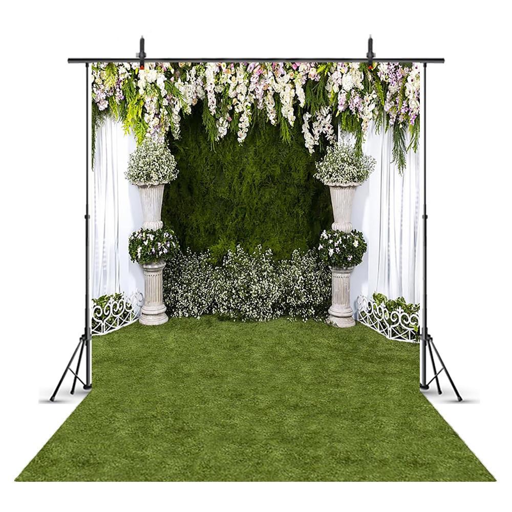 Fondo fotográfico de boda para estudio fotográfico, con hierba verde para fotomatón...