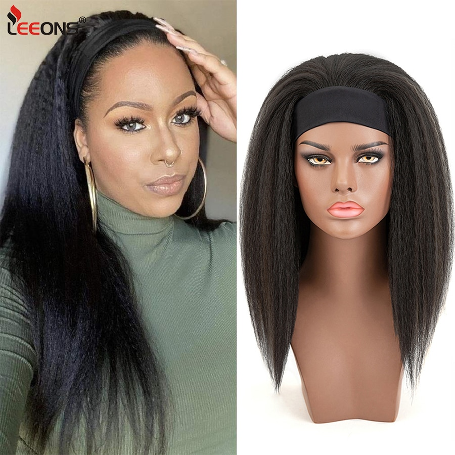 Leeons Medium Adjustable Afro Natural Black Wigs Kinky Straight Headbands Synthetic Hairs Wigs African Women 16 Inch Kanekalon