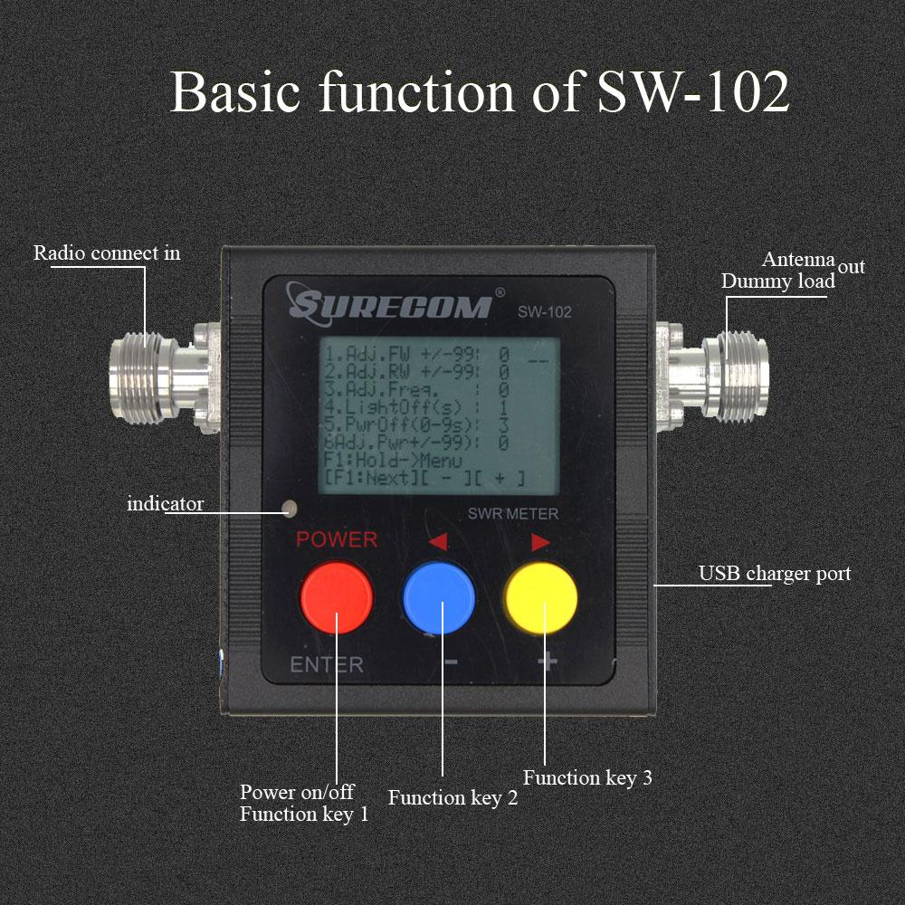 Upgrade Version SURECOM SW-102 Meter 125-520 Mhz  VHF / UHF Power & SWR Meter SW102 For Two Way Radio Walkie Talkie enlarge