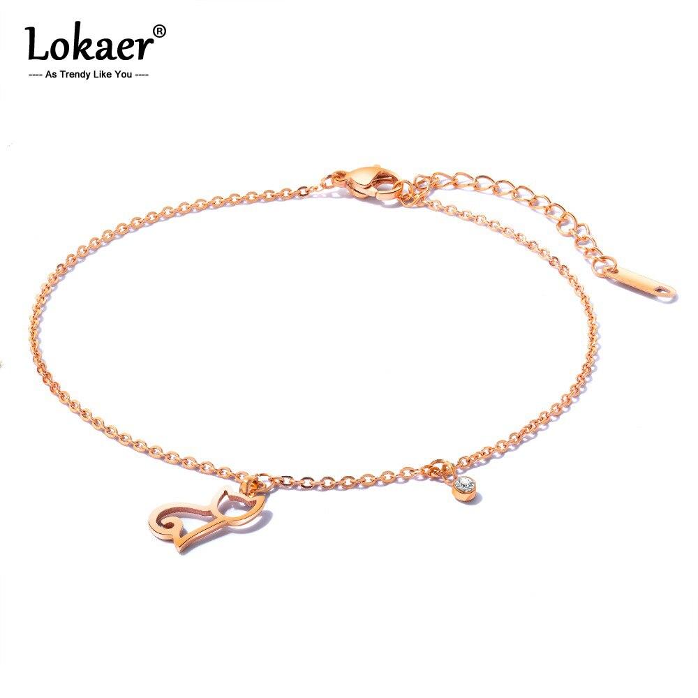Pulsera de tobillo Lokaer, joyería de pie para mujer, acero inoxidable, Color oro rosa, Zirconia cúbica, cadena para gato, longitud 260mm A19031