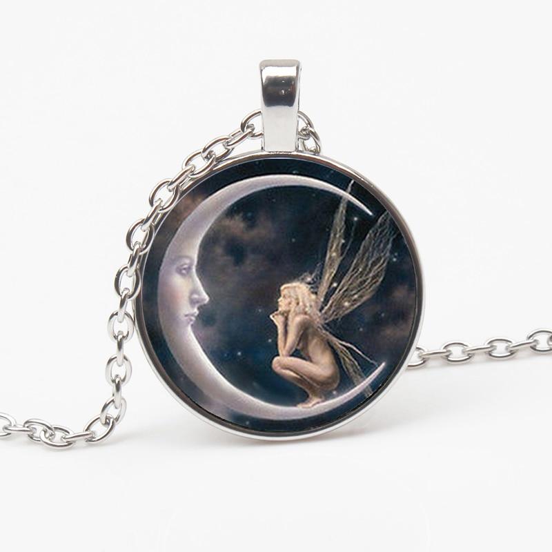 Новый готический Ангел Луна индивидуальный кулон, ожерелье с узором Сказочный стеклянный кулон Мужская и женская бижутерия сувенир чокер