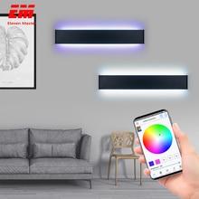 Apliques rectangulares de lámpara de pared Led, casa inteligente RGB, aplicación regulable, control remoto, lámpara de dormitorio con Bluetooth, luz para espejo de baño ZBD0001