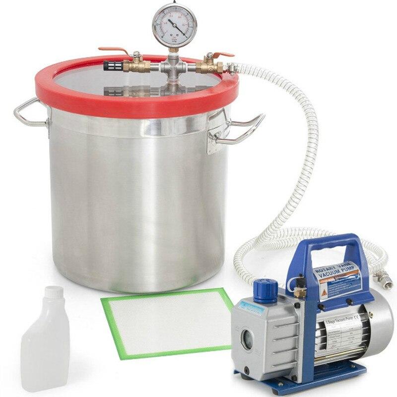 Bomba de vacío de paletas rotativas de 220V RS-1, cámara de desgasificación al vacío de acero inoxidable de 2 galones, barril antiespumante para pegamento de resina epoxi AB