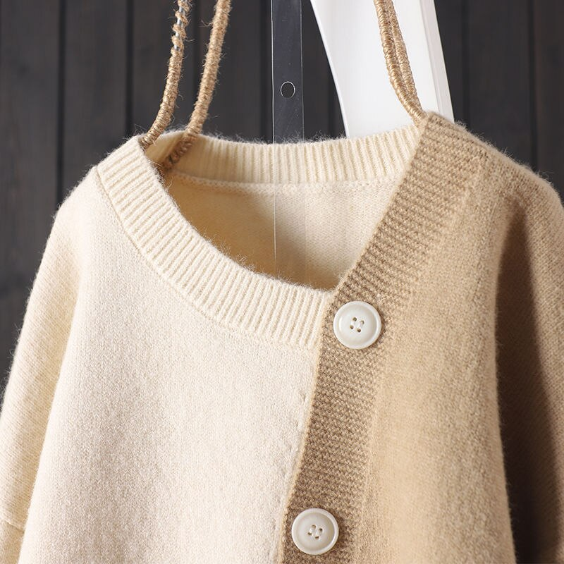 Knitted cardigan, loose and versatile, lazy design, irregular color contrast, western style sweater, women's spring and Autumn enlarge