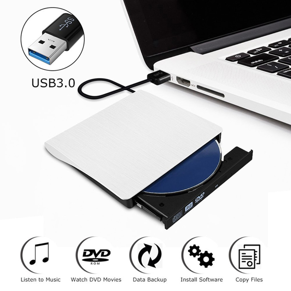 USB 3.0 Slim External DVD RW CD Writer Drive Burner Reader Player Optical Drives For Laptop PC dvd burner portatil