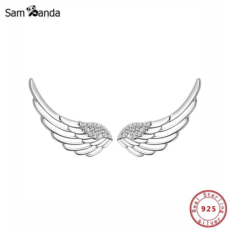 Подлинные серьги-гвоздики из 100% стерлингового серебра 925 пробы с крыльями ангела, серьги из чистого фианита, серьги для пирсинга, женские мо...