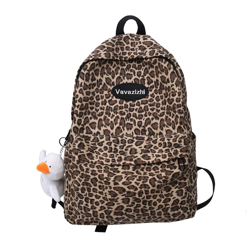 Faslion Leopard Backpack Waterproof Nylon School Bag for Teenage girls 2021 New Large Capacity Travel Bag Shoulder Bags