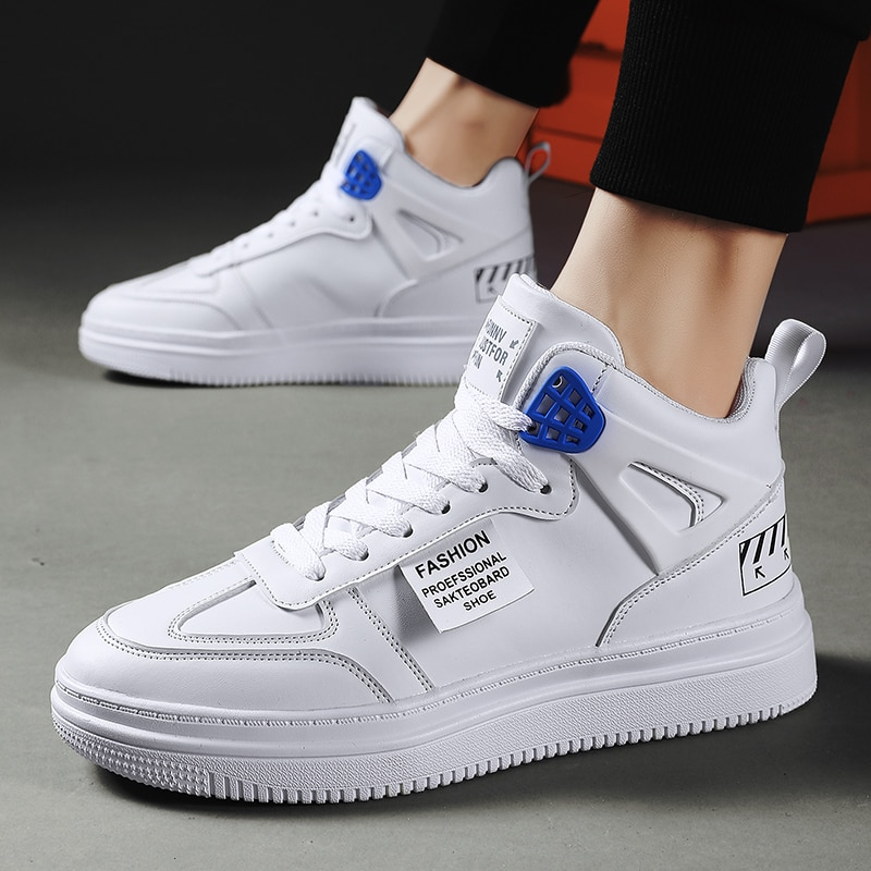 Brand Men High Quality Leather Casual Shoes Fashion Sneakers Thick Sole Top Male Boots Shoes Outdoor Mens Footwear Man Designer недорого